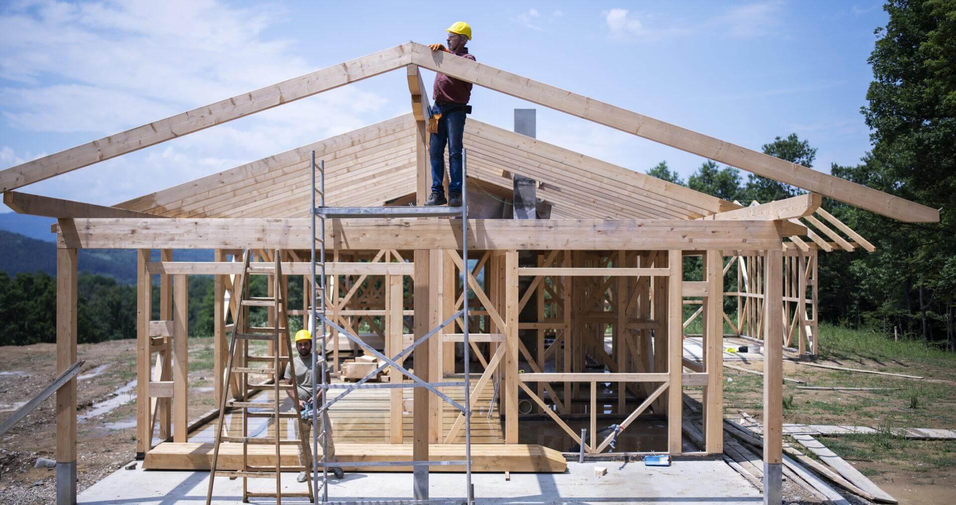 Przekroje ścian, dachu oraz stropu w domu szkieletowym